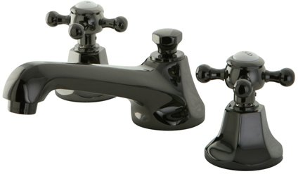 Water onyx black nickel widespread lavatory faucet with cross handle and brass pop up drain for Black nickel bathroom faucets