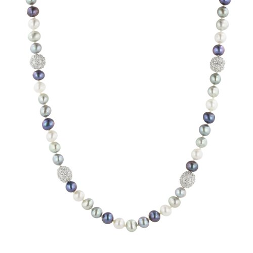 Multi-Color Freshwater Cultured Pearl and Cubic Zirconia Necklace, 17.5+2