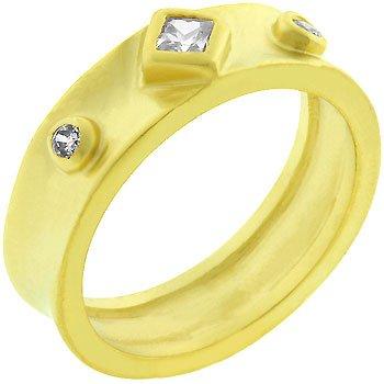 14K Matte Gold Cubic Zirconia Bezel Set Eternity Band in Size 10