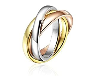 Three Tone Trinity Interlocking Wedding Band Size 5