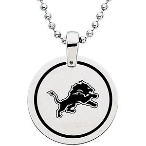 Stainless Steel Detroit Lions NFL Football Team Round Disc Pendant Necklace 27