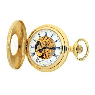 Mount Royal - Gold Plated Half Hunter Skeleton Mechanical Pocket Watch - B6 - (WW1190) - 4.4cm diameter x 0.9cm depth
