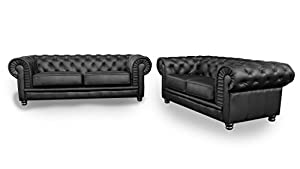 Chesterfield Black 2 3 Pleated Leather Sofas