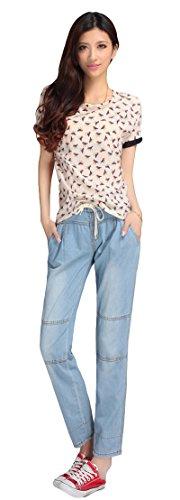 AvaCostume Womens Straight Leg Jeans Ninth Denim Pants Drawstring Waist, Blue, 8