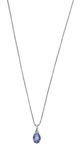 Iolite and Diamond Pendant in 9 Carat White Gold by Elements with 41cm Box Chain