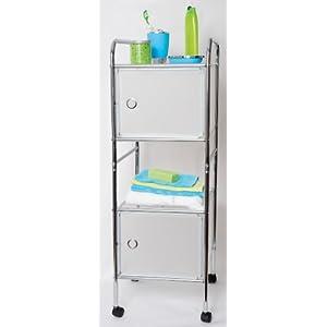 Bas prix meuble etag re chrom sur roulettes 2 tablettes 2 portes pour salle fournitures - Fournitures de bureau pour particuliers ...