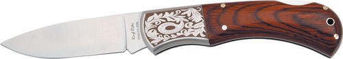 Rough Rider Lockback 4in Fold Knife, Matte finish SS blade, Laminated rich grain wood handle