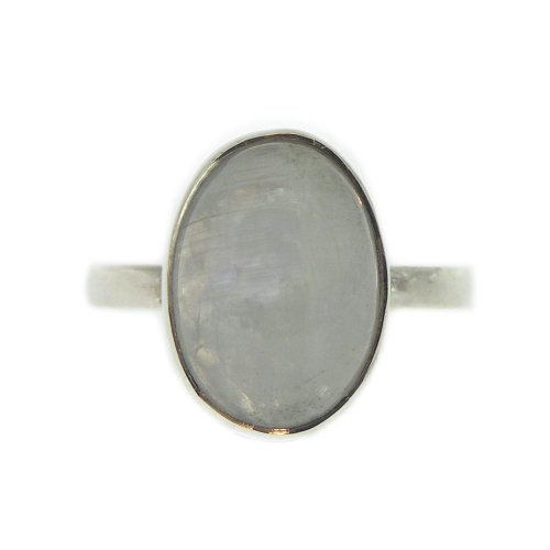 Nova Silver Bemine Small Oval Moonstone Ring In Size N