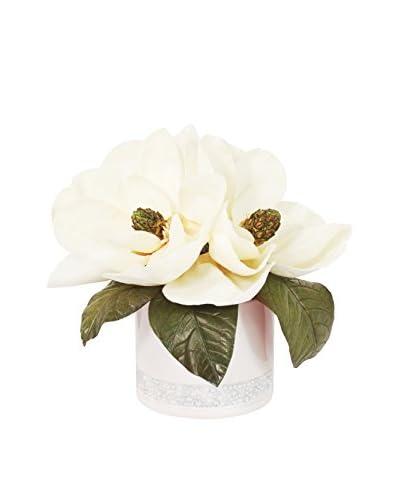 Creative Displays Magnolias in Sparkle Ceramic Container, White/Green