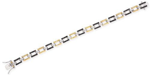 Sterling 925 Silver Link Bracelet with CZ Black & Clear Diamonds & Canary Gems Geometric Style - Incl. ClassicDiamondHouse Free Gift Box & Cleaning Cloth