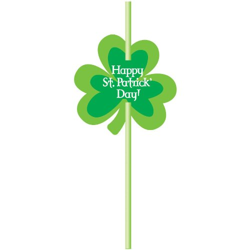 St. Patricks Day - Shamrock Straws w/ Cutout Attachment - Party Supplies - Accessories - 6 Pack