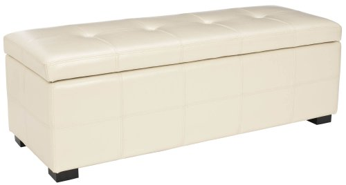 Cream Leather Bench Tufted Cream Leather Large