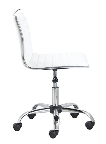 BTExpert Swivel Low to Mid Back Armless Ribbed Designer Task Leather Soft Upholstery Chair, White
