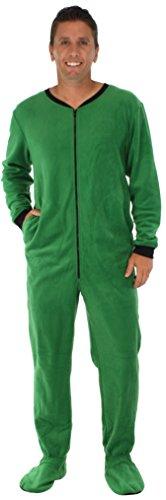 PajamaMania Men's Fleece Onesie Footed Pajama Pjs Green- Lrg (Onesie For Male Adults)