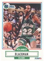 Rolando Blackman Dallas Mavericks 1990 Fleer Autographed Hand Signed Trading Card -... by Hall+of+Fame+Memorabilia