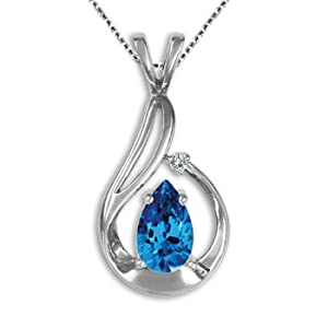 1.00 CT Pear Blue Topaz Gemstone G-H Diamond Pendant Chain 14K White Yellow Gold by Ruby Jewelry NY