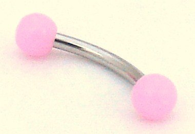 Pierced & Modified - Body Jewellery Eyebrow Bars - Neon Bright Micro Curved Barbell - Candy Pink