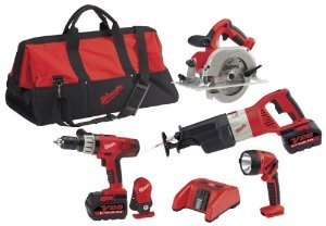 Milwaukee 0928-29 28-Volt Lithium-Ion Cordless 4-Tool Combo Kit