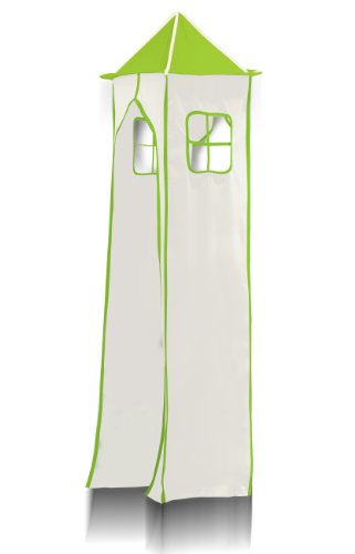 Tower Fabric and its Metal frame - Colour Vert/Blanc for Children's Loft Beds - TGS-71