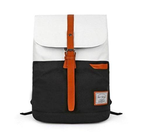 Hochwertiger, Koreanische Rücksack / Schultertasche im Vintage-Style für Reisen, Schule mit Laptopfach, 41 cm x 31 cm x 17 cm Weiß / schwarz