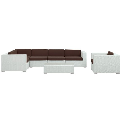 LexMod Corona Outdoor Wicker Patio 7-Piece Sectional Sofa Set in White with Brown Cushions