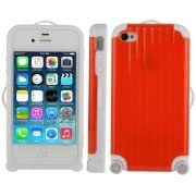 Luggage Style Plastic + Silicone Combination Case for iPhone 4 4S (Red)