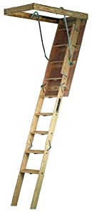 Louisville Ladder CS254P Champion Wood Attic Ladder 300 Pound Capacity 25.5-Inch by 54-Inch Opening Ceiling Height 7-Foot to 8-Foot-9-Inch