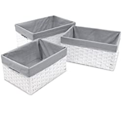 W.C. Redmon 3-Piece Basket Storage Set with Grey Liners in White