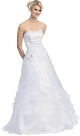 Ball Gown Strapless Formal Prom Dress #581 (4, White)