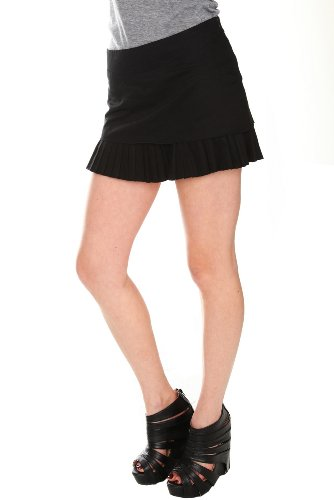 Black Pleat Hem Mini Skirt