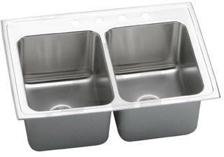 Elkao|#Elkay DLR3322120 18-Gauge Stainless Steel 33 Inch x 22 Inch x 12.125 Inch Double Bowl Top Mount Kitchen Sink,