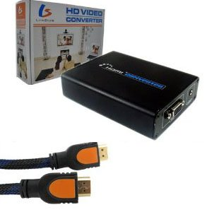 LinkStyle HDMI to VGA + 3.5mm AV Converter for PS3 HDDVD PC + HDMI Male to Male Cable 6 Feet + LinkStyle Cable Tie