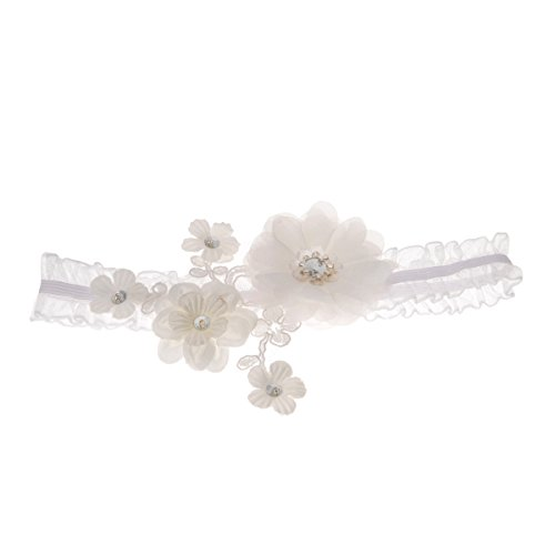 Topwedding Ivory and White Organza Bridal Wedding Garter with Rhinestone Flower