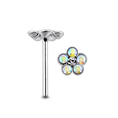 Irisierende Gem Flower Center klar Gem Sterlingsilber gerade Nase PIN