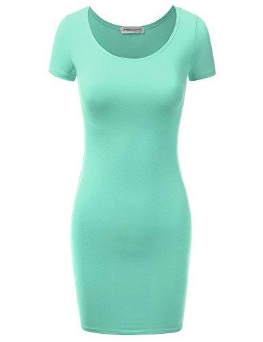 JJ Perfection Women's Short Sleeve Classic Slim Fit Bodycon Dress MINT S