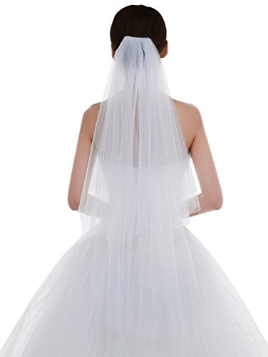 Edith qi Women's Simple Tulle Bridal Veil Short Wedding Veil
