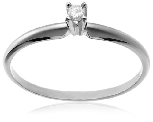 14k White Gold PrincessCut Solitaire Engagement Ring (.05 ct, IJ Color, I1I2 Clarity), Size 6