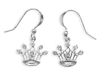 Rhodium Plated CZ Crown French Wire Earrings