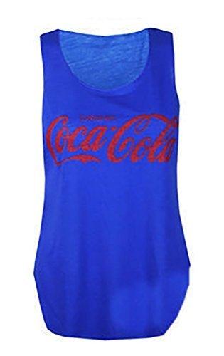 Da donna COCA COLA Stampa Gilet Canottiera estiva da donna casual t shirt Royal Blue M/L(44-46)