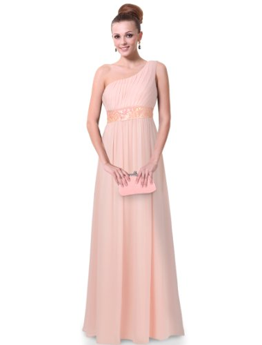 HE09770PK08, Pink, 6US, Ever Pretty One Shoulder Empire Line Sequins Padded Maxi Bridesmaid Dress 09770