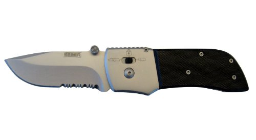 Seber RK1125CP Serrated Drop Point Polished Ratcheting Knife