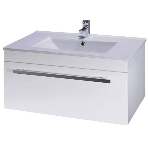 Trueshopping White Gloss Bathroom Vanity Unit Ceramic Basin Sink Wall Hung Cloakroom Furniture Suite 800mm