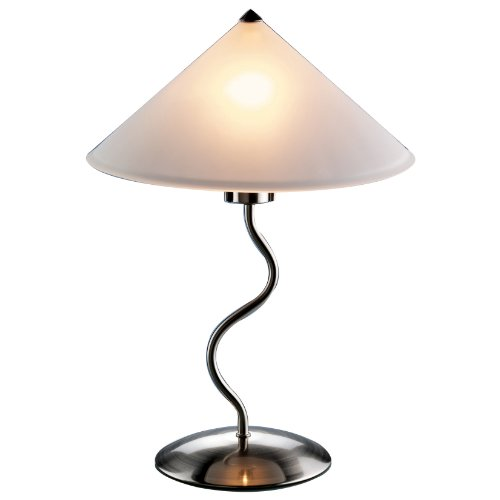 LumiSource Doe Li Touch-On 19-Inch Metal Table Lamp with Frosted-Glass Shade photo