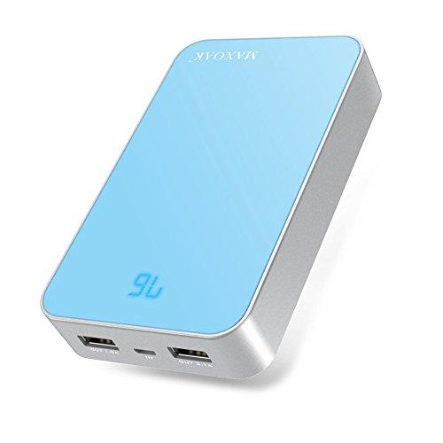 KAYO MAXTAR 超大容量 13000mAh モバイルバッテリー 2ポート USB急速充電器IPHONE 6 5S 5 SAMSUNG S6 S5 S4 S3 NOTE HTC 等USB充電設備 急速充電対応 LEDインジケーター付き電池残量表示(ブルー)