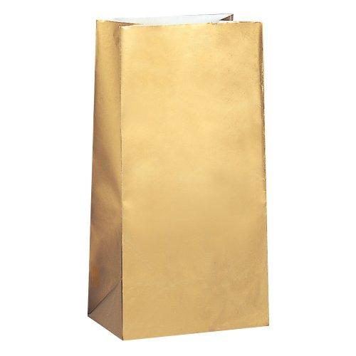 Unique Party - Paquete de 12 bolsas de papel para fiestas, color dorado (59019)