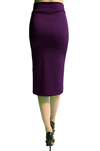 Sassy Apparel Womens Comfortable Elastic Below Knee Fashion Pencil Skirt
