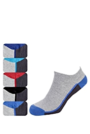 5 Pairs of Cotton Rich Trainer Liner Socks with StayNEW™ Technology