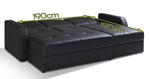 polsterecke belfort mit schlaffunktion bettfunktion bettkasten hocker kunstleder schwarz schlafsofa. Black Bedroom Furniture Sets. Home Design Ideas