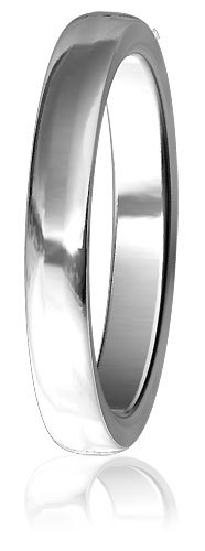 Plain Mens or Ladies Slight Dome Wedding Band, 3mm wide, 2mm thick, comfort fit in Sterling Silver - size 6