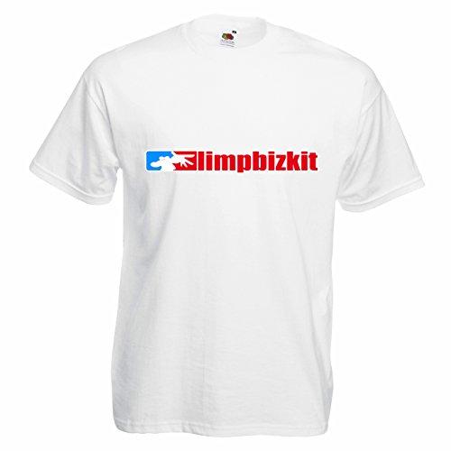 T-shirt Uomo Limp Bizkit - Maglietta nu metal rock band 100% cotone LaMAGLIERIA,M, Bianco
